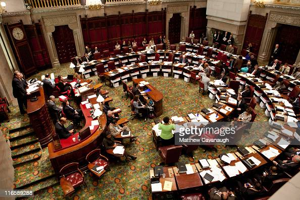The New York State Senate debates legislation in the Senate chamber on June 16 2011 in Albany New York The Senate is expected to vote on a bill that...