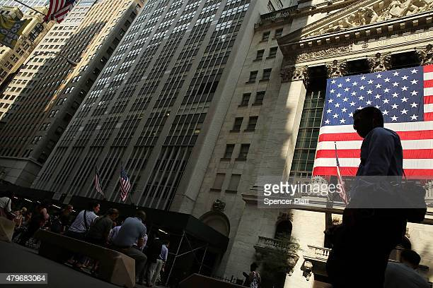 The New York Stock Exchange is shown on July 6 2015 in New York City Following news that Greece has voted 'No' in a referendum on the country's...