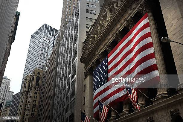 The New York Stock Exchange is viewed in the financial district on July 9 2015 in New York City The International Monetary Fund announced on Thursday...