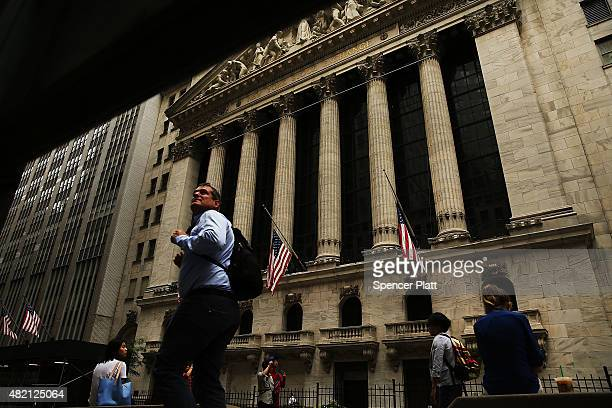 The New York Stock Exchange is viewed on July 27 2015 in New York City The Dow Jones industrial average was down 150 points in morning trading...