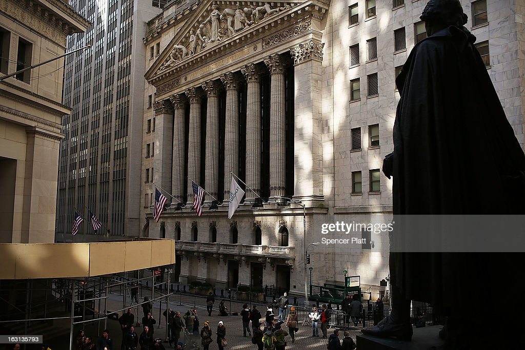 The New York Stock Exchange is viewed on March 5, 2013 in New York City. Within the first few minutes of trading Tuesday, the Dow gained nearly 100 points, rising as high as 14,226.20, a new record high