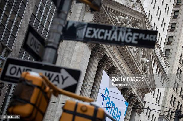 The New York Stock Exchange stands in New York US on Monday Jan 9 2017 US stocks declined Monday as investors sold following last week's advance to...