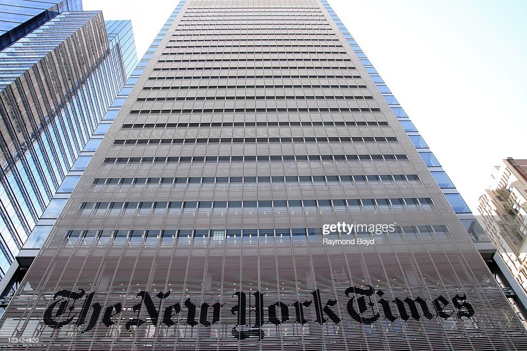 The New York Times building in Times Square in New York New York on AUG 04 2011