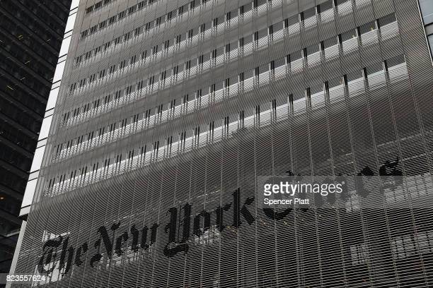 The New York Times building stands in Manhattan on July 27 2017 in New York City The New York Times Company shares have surged to a nineyear high...