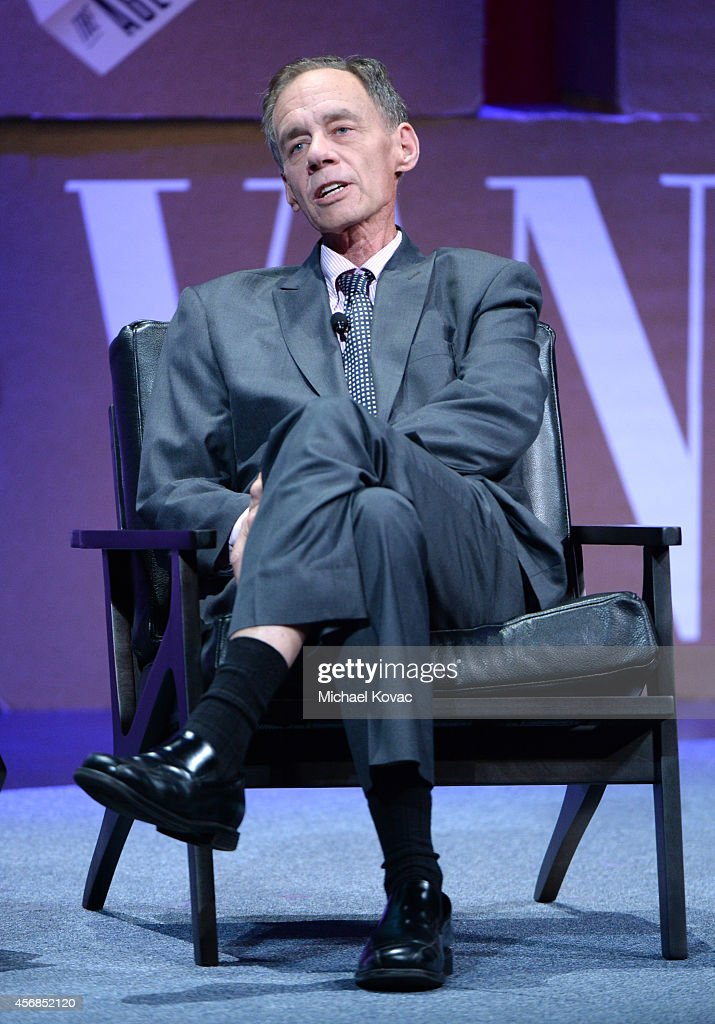 """The New York Times Columnist and Moderator David Carr speak onstage during '""""Missing Ink The New Journalism"""" at the Vanity Fair New Establishment..."""