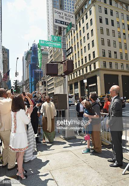 The New York Times Executive Editor Dean Baquet and NYC First Lady Chirlane McCray unveil 'Bill Cunningham Corner' as Sharon Coplan Hurowitz and...