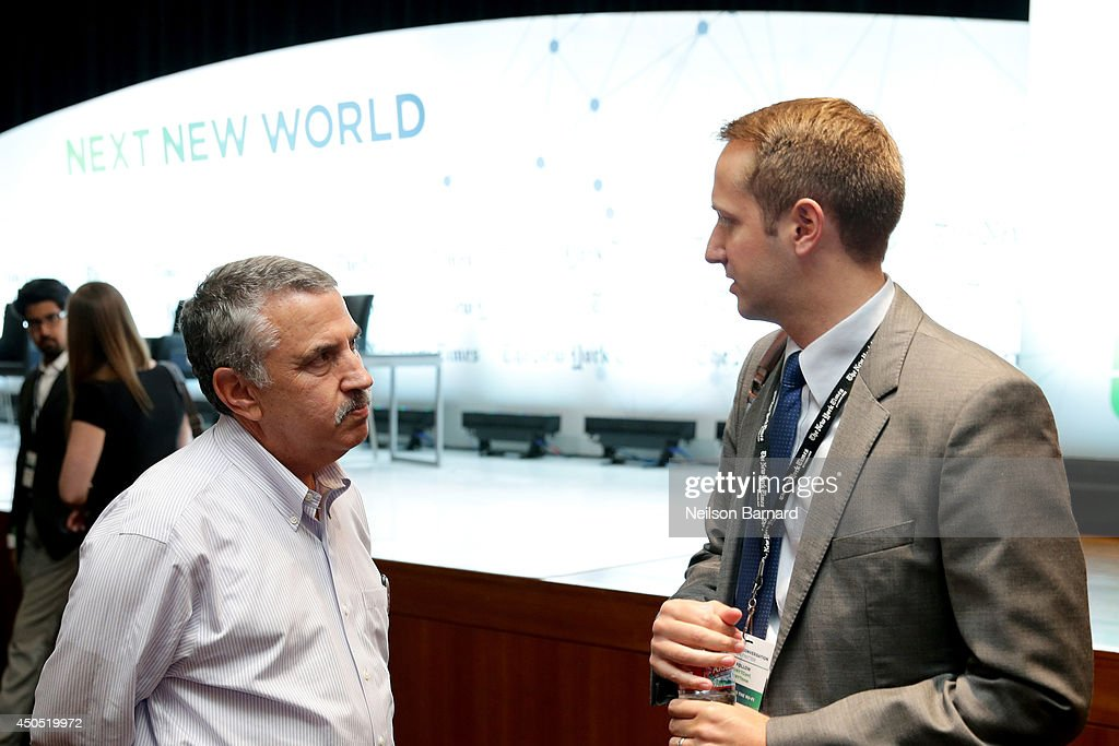 The New York Times Foreign Affairs Columnist Thomas L Friedman (L) and guest attend The New York Times Next New World Conference on June 12, 2014 in San Francisco, California.