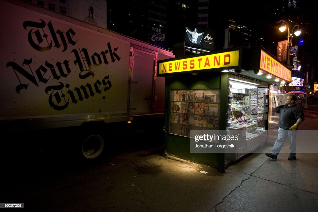The New York Times newspaper being delivered to newsstands and all night deli's starting at 5am The goal is that all papers will be delivered and...