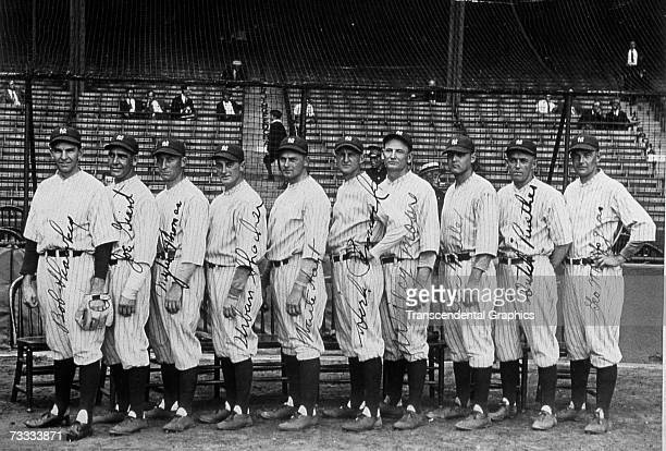 The New York Yankees pitching staff for 1927 poses for a photo in Yankee Stadium in 1927 Waite Hoyt is lined up fifth from left and Herb Pennock is...