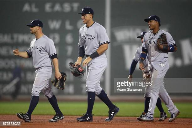 The New York Yankees react after their victory over the Boston Red Sox at Fenway Park on April 26 2017 in Boston Massachusetts