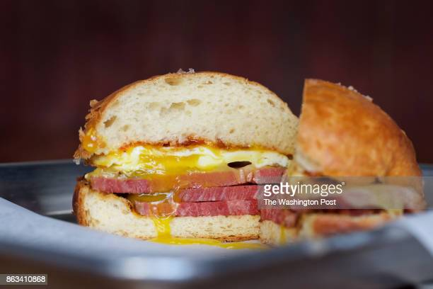 WASHINGTON DC The New Yorker breakfast combo with pastrami fried egg comte and hot pepper jelly at the new fast casual restaurant Smoked and Stacked...