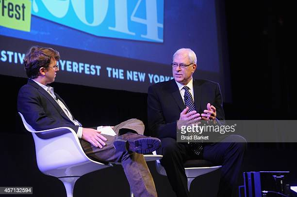 The New Yorker contributor Ben McGrath and basketball coach Phil Jackson speak on stage at Phil Jackson in Conversation with Ben McGrath at the...