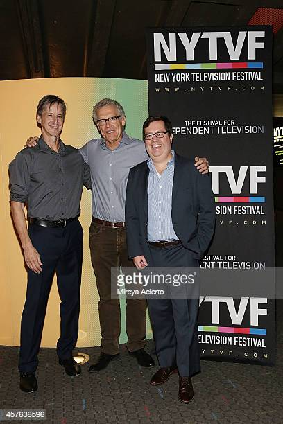 The New Yorker writer Andy Borowitz television writer Carlton Cuse and Founder and Executive Producer of NYTVF Terence Gray attend Creative Keynote...