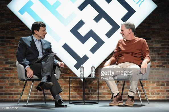 The New Yorker's David Remnick and Cofounder and CEO of Netflix Reed Hastings speak onstage during The New Yorker TechFest 2016 on October 2 2016 in...