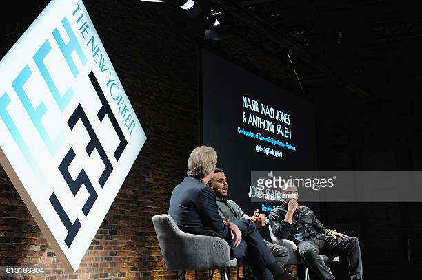 The New Yorker's John Seabrook Cofounders of QueensBridge Venture Partners Nas and Anthony Saleh speak onstage during The New Yorker TechFest 2016 on...