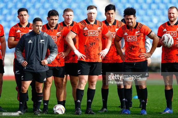 The New Zealand All Blacks during a New Zealand All Blacks training session at Trusts Stadium on June 13 2017 in Auckland New Zealand