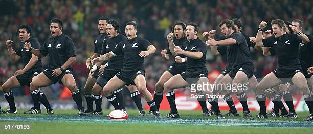 The New Zealand All Blacks perform the haka before the Lloyds TSB 2004 Autumn Series rugby union match between Wales and New Zealand at the...