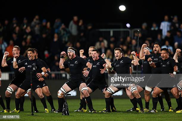 The New Zealand All Blacks perform the Haka during The Rugby Championship match between the New Zealand All Blacks and Argentina at AMI Stadium on...
