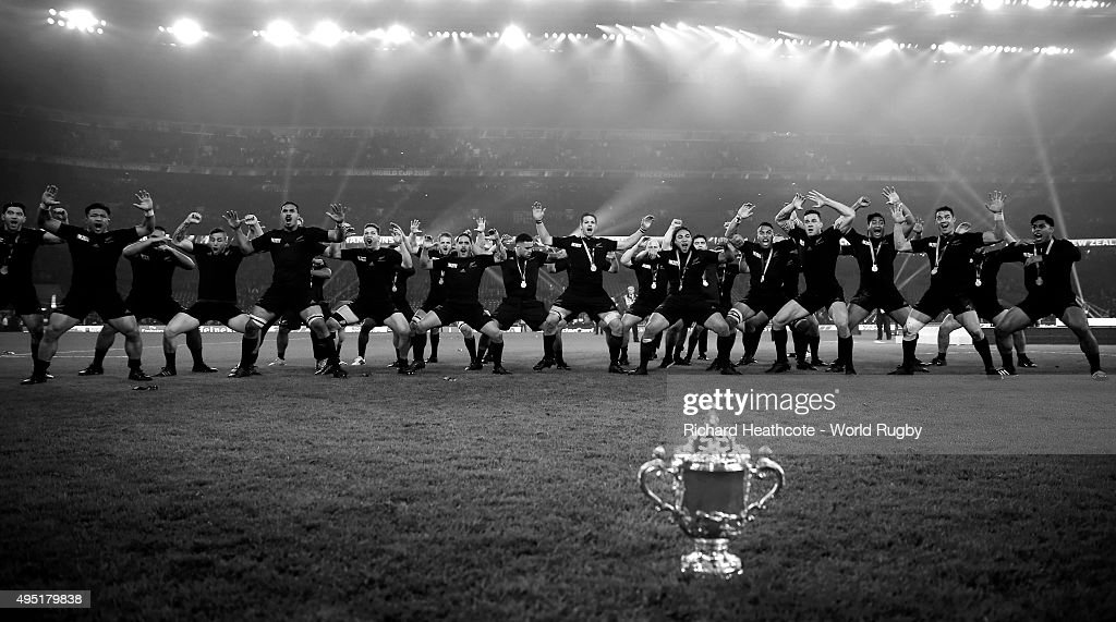 The New Zealand All Blacks perform the Haka in front of the Webb Ellis Cup after victory in the 2015 Rugby World Cup Final match between New Zealand and Australia at Twickenham Stadium on October 31, 2015 in London, United Kingdom.