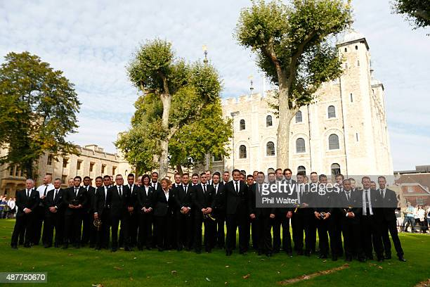 The New Zealand All Blacks pose for a team photo following their RWC 2015 Welcome Ceremony at the Tower of London on September 11 2015 in London...