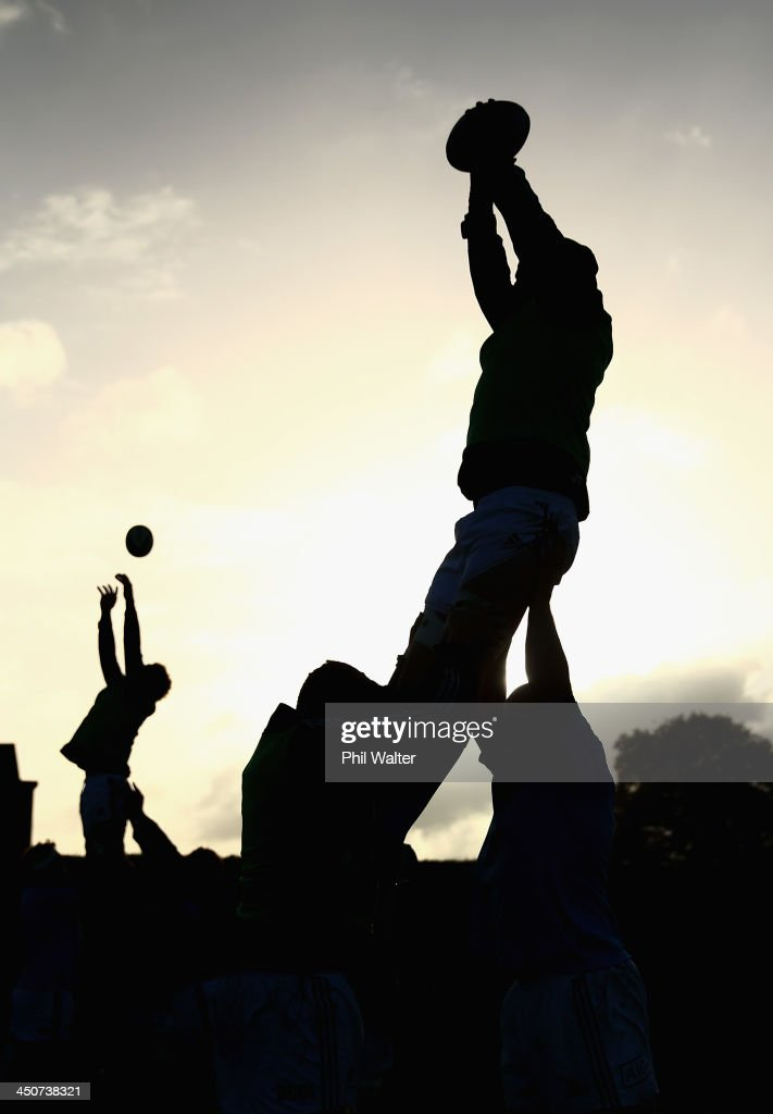 The New Zealand All Blacks practice a lineout during a training session at the Westmanstown Sport and Conference Centre on November 20, 2013 in Dublin, Ireland.