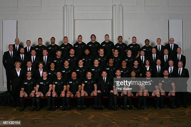 The New Zealand All Blacks Rugby World Cup team pose for a team photo at The Heritage Hotel on September 8 2015 in Auckland New Zealand