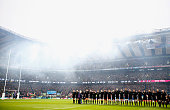 The New Zealand All Blacks team line up for the national anthem prior the 2015 Rugby World Cup Semi Final match between South Africa and New Zealand...