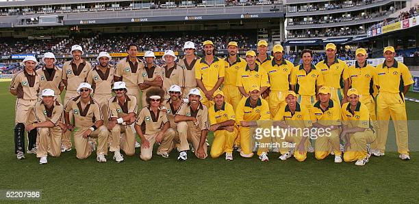 The New Zealand and Australian teams pose in their Retro 80s uniforms before the Twenty20 International Match between New Zealand and Australia...