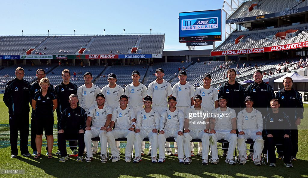 The New Zealand Black Caps pose for a team photo before day five of the Third Test match between New Zealand and England at Eden Park on March 26, 2013 in Auckland, New Zealand.