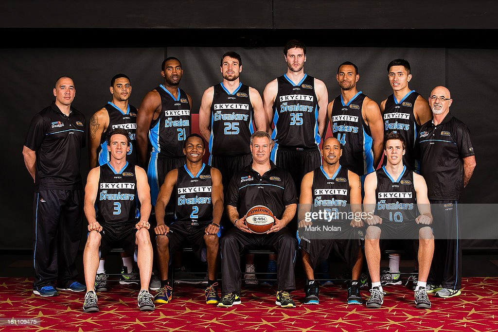 The New Zealand Breakers pose for a squad photo during the official 2013/14 NBL Headshots Session at The Entertainment Quarter on September 19, 2013 in Sydney, Australia.