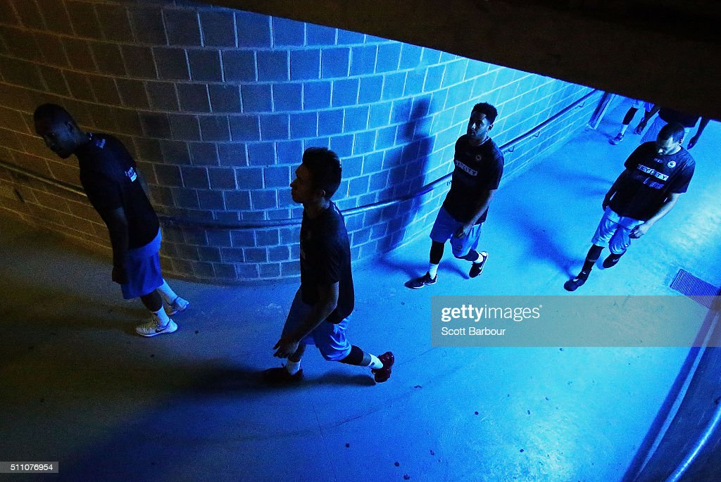 The New Zealand Breakers walk backstage and prepare to enter the court during the NBL Semi Final match between Melbourne United and the New Zealand...