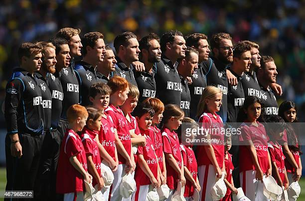 The New Zealand cricket team stand for the national anthem during the 2015 ICC Cricket World Cup final match between Australia and New Zealand at...