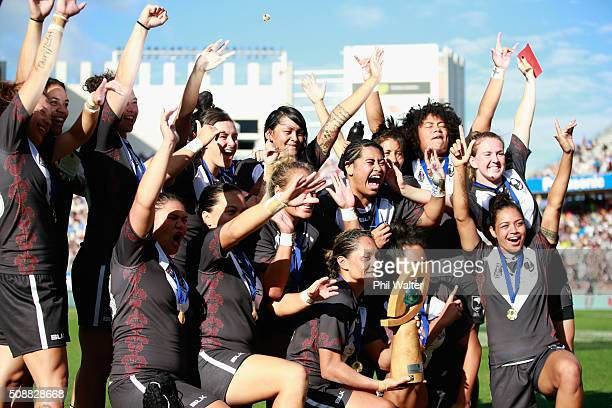 The New Zealand Ferns celebrate following their series win over the Australian Jillaroos during the 2016 Auckland Nines at Eden Park on February 7...