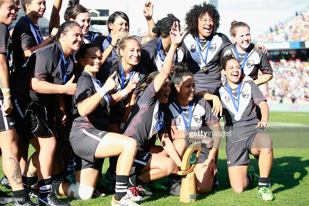 The New Zealand Ferns celebrate following their series win over the Australian Jillaroos during the 2016 Auckland Nines at Eden Park on February 7, 2016 in Auckland, New Zealand.