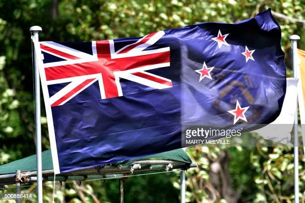 The New Zealand flag flies during day two of the first International Test cricket match between New Zealand and Sri Lanka at University Oval in...