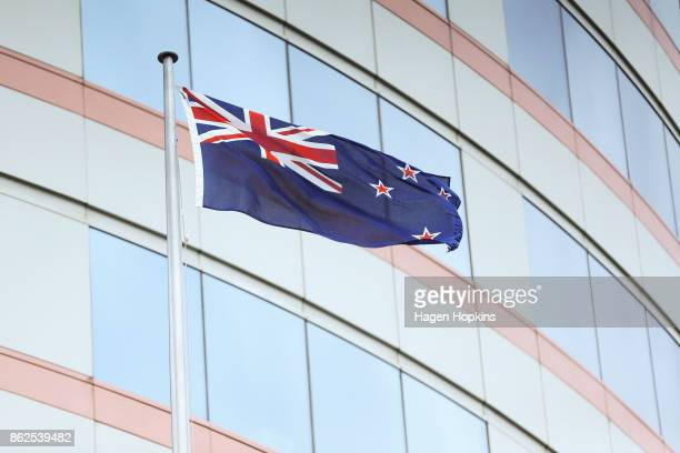 The New Zealand flag flies in front of Bowen House as coalition discussions continue at Parliament on October 18 2017 in Wellington New Zealand...