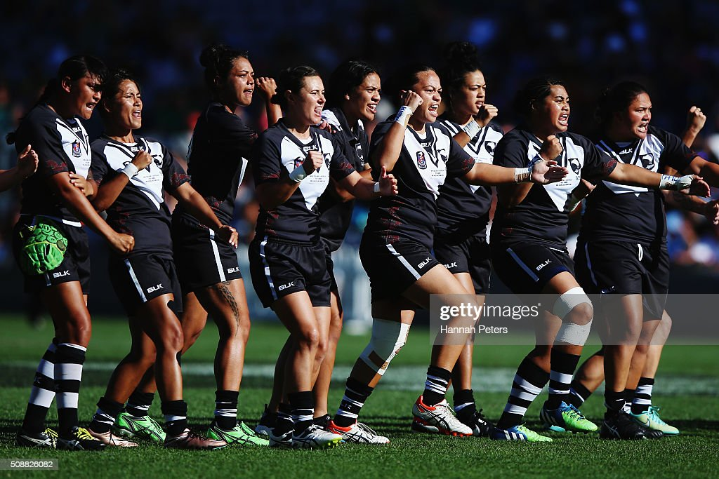 The New Zealand Kiwi Ferns perform a haka prior to the international rugby league test match between New Zealand and Australia at Eden Park on February 7, 2016 in Auckland, New Zealand.