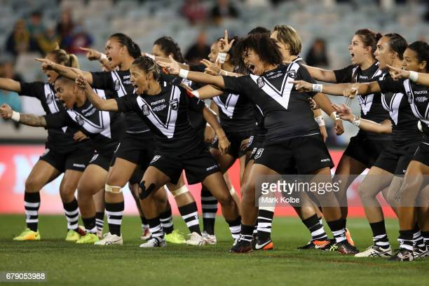 The New Zealand Kiwi Ferns perform the Haka before the women's ANZAC Test match between the Australian Jillaroos and the New Zealand Kiwi Ferns at...