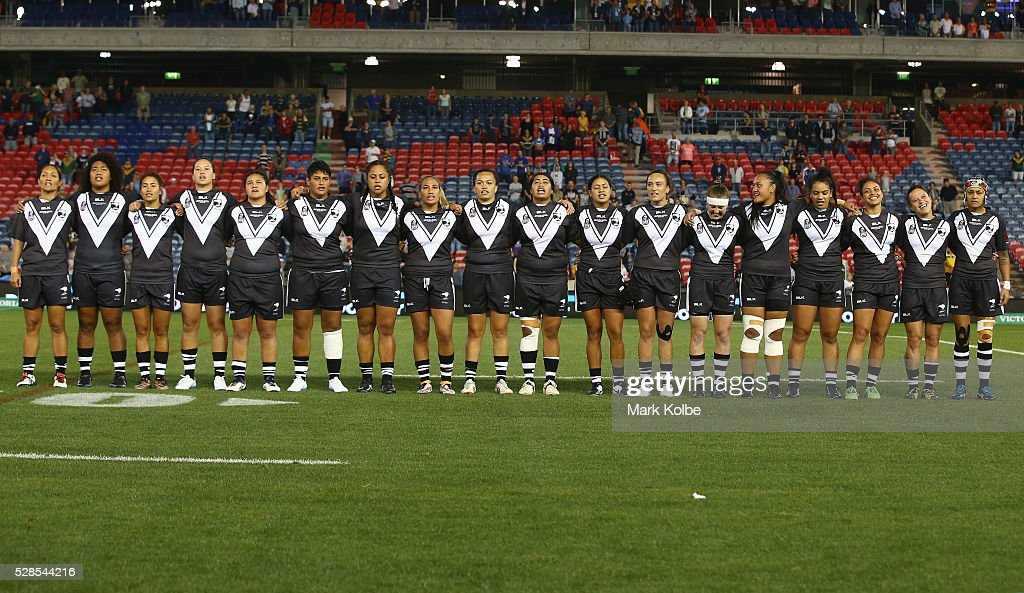 The New Zealand Kiwi Ferns sing the national anthem during the Women's international Rugby League Test match between the Australian Jillaroos and New Zealand Kiwi Ferns at Hunter Stadium on May 6, 2016 in Newcastle, Australia.