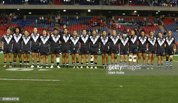 The New Zealand Kiwi Ferns sing the national anthem during the Women's international Rugby League Test match between the Australian Jillaroos and New...