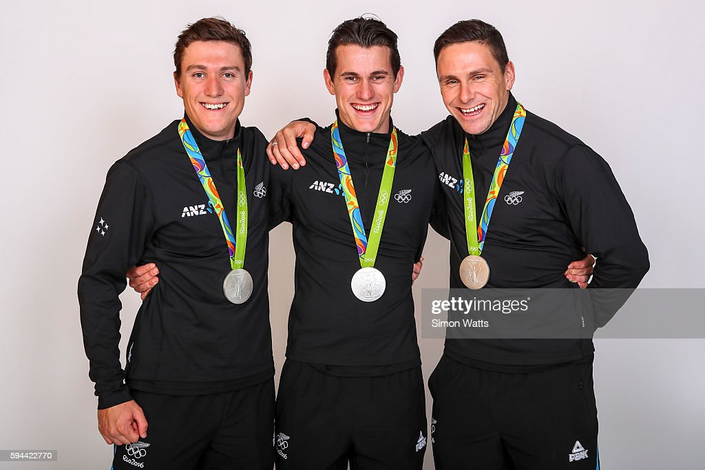 The New Zealand Men's Olympic Track Cycling sprint team L_R; Ethan Mitchell, Sam Webster and Eddie Dawkins pose for a portrait with their Silver Medals during the New Zealand Olympic Games athlete home coming at The Cloud on August 24, 2016 in Auckland, New Zealand.