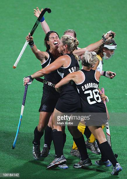The New Zealand players celebrate after scoring their first goal during the Women's Semifinal match between New Zealand and South Africa at Major...