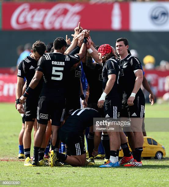 The New Zealand prepares to face Samoa in the Cup quarter final match during the Emirates Dubai Rugby Sevens HSBC World Rugby Sevens Series at The...