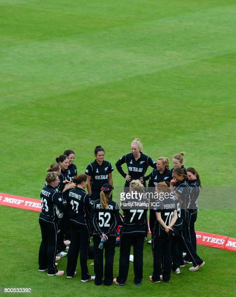 The New Zealand side hold a pre match huddle during the ICC Women's World Cup 2017 match between New Zealand and Sri Lanka at the Brightside Ground...