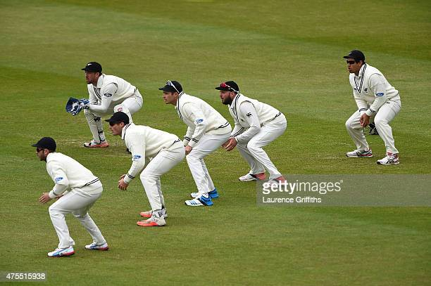 The New Zealand slip fielders wait for a catching opportunity during day four of the 2nd Investec Test Match between England and New Zealand at...