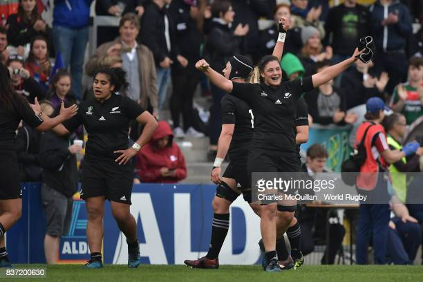 The New Zealand team celebrate their 4512 victory during the Women's Rugby World Cup 2017 Semi Final match between New Zealand and the United States...