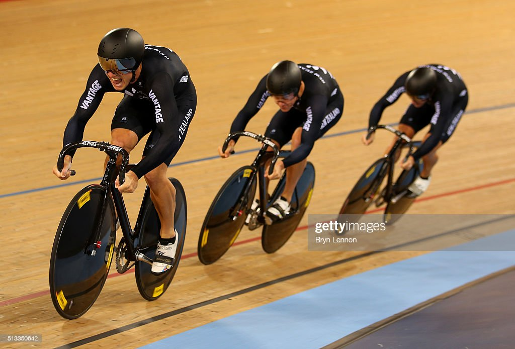 The New Zealand team in action on their way to winning the Mens Team Sprint final during the UCI Track Cycling World Championships at Lee Valley Velopark Velodrome on March 2, 2016 in London, England.