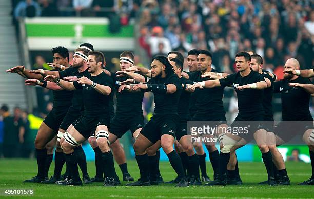 The New Zealand team perform the Haka before the 2015 Rugby World Cup Final match between New Zealand and Australia at Twickenham Stadium on October...