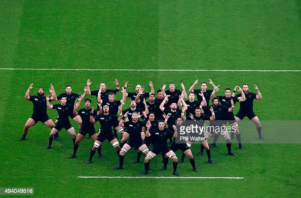 The New Zealand team perform their pre match Haka during the 2015 Rugby World Cup Semi Final match between South Africa and New Zealand at Twickenham...