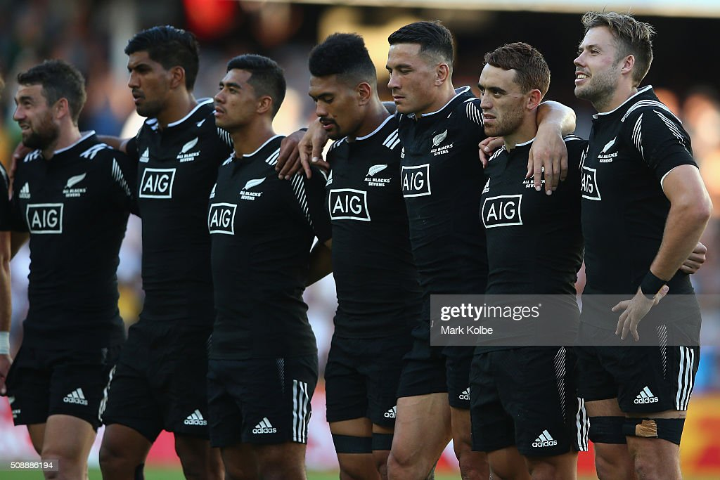 The New Zealand team sing the national anthem before the 2016 Sydney Sevens cup final match between Australia and New Zealand at Allianz Stadium on February 7, 2016 in Sydney, Australia.